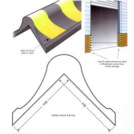 Bull Nose Corner Fender 800L x 115W x 115H Technical Drawing