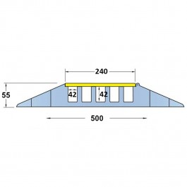 Cable Protector 900L x 500W x 55H (5 Channels, 42mm x 42mm, 18 Tonnes) Technical Drawing