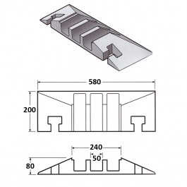 Cable Protector Female End 200L x 580W x 80H (3 Channels, 65mm x 65mm, 20 Tonnes) at Polymax