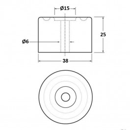 Cylindrical Bumper 38D x 25H  Technical Drawing