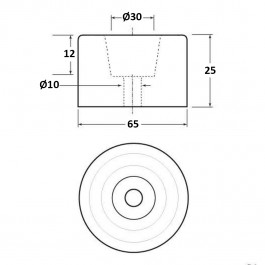 Cylindrical Bumper 65D x 25H  Technical Drawing