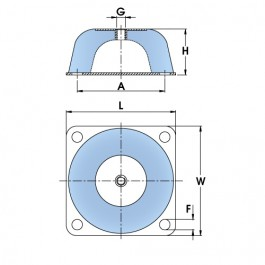 Polymax SCM-type Flange Mounts | Square Base